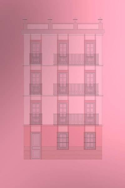 Digital Art - Spanish Architecture Over Violet Background. by Alberto RuiZ