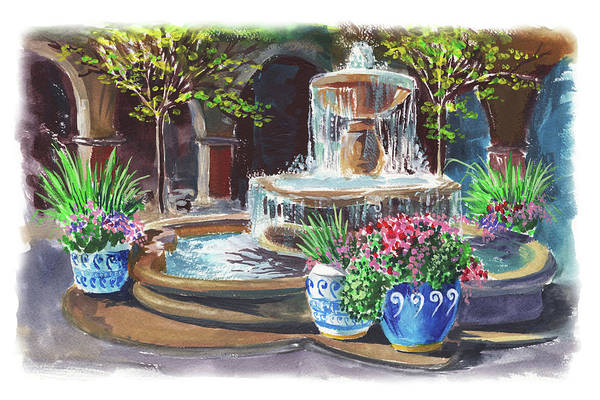 Wall Art - Painting - Spanish Fountain Courtyard by Irina Sztukowski
