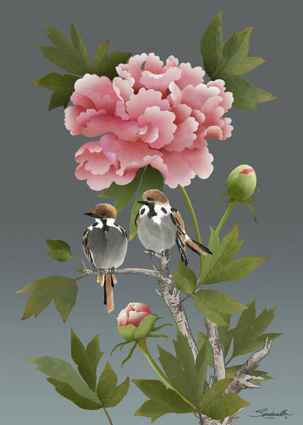 Wall Art - Digital Art - Sparrows And Peony by M Spadecaller