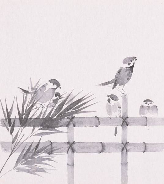 Beauty Of Nature Digital Art - Sparrows Perching On Bamboo Fence by Daj
