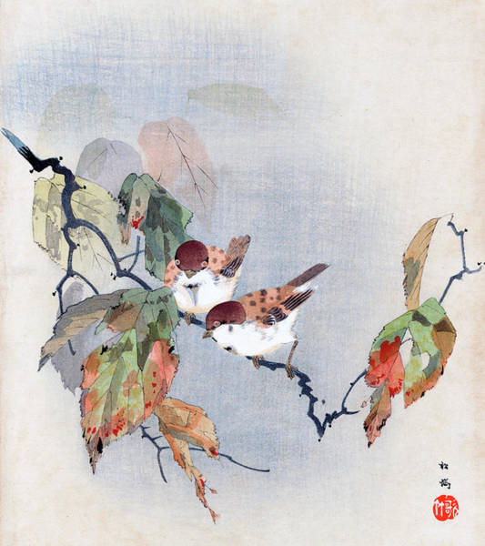 Painting - Sparrows by Shoki