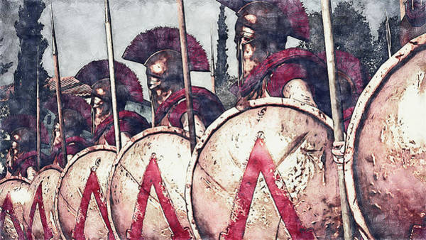 Painting - Spartan Army At War - 29 by Andrea Mazzocchetti