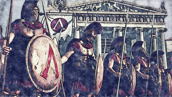 Painting - Spartan Army At War - 31 by Andrea Mazzocchetti