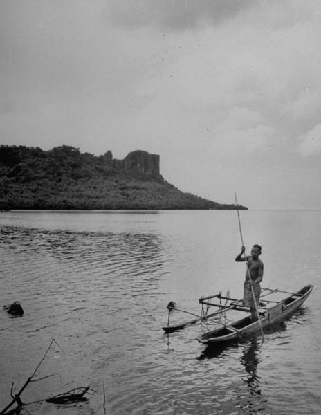 Canoe Photograph - Spear Fishing In Out Rigger Canoe by Eliot Elisofon