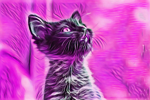 Digital Art - Special Long Neck Kitty Pink Eyes by Don Northup