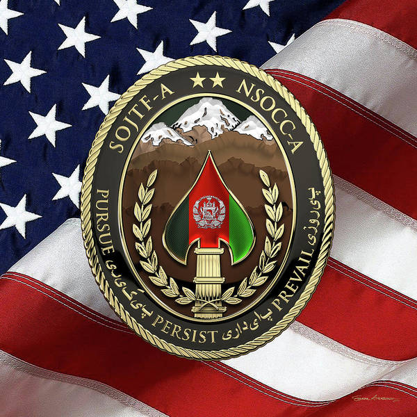 Digital Art - Special Operations Joint Task Force - Afghanistan -  Nsocc-a/sojtf-a Patch Over American Flag by Serge Averbukh