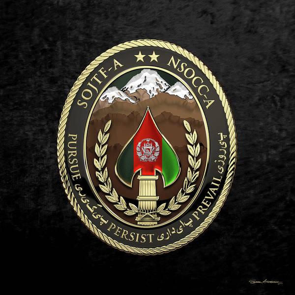 Digital Art - Special Operations Joint Task Force - Afghanistan -  Nsocc-a/sojtf-a Patch Over Black Velvet by Serge Averbukh