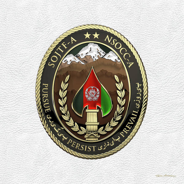 Digital Art - Special Operations Joint Task Force - Afghanistan -  Nsocc-a/sojtf-a Patch Over White Leather by Serge Averbukh