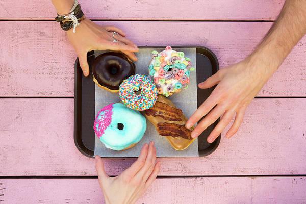 Tray Photograph - Specialty Doughnuts On A Tray by Jordan Siemens