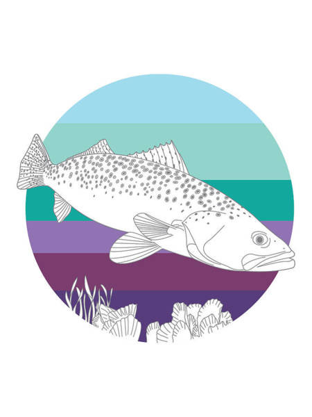 Spots Digital Art - Speckled Trout On Oyster by Kevin Putman