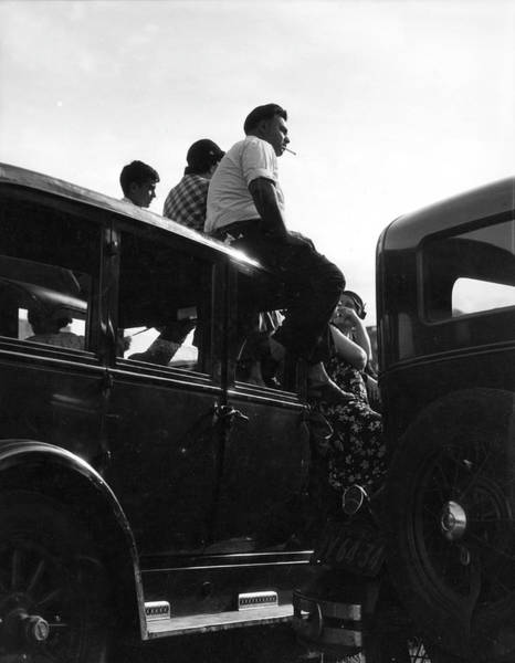 People Watching Photograph - Spectators Seated On A Car by The New York Historical Society