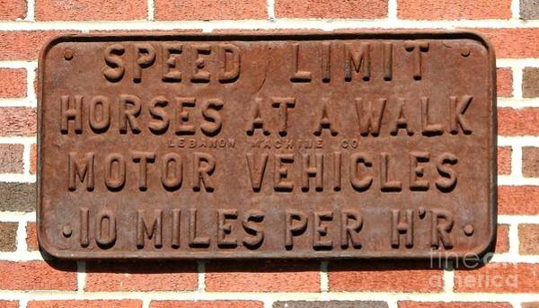 Wall Art - Photograph - Speed Limit Sign For Horses And Motor Vehicles by Rose Santuci-Sofranko