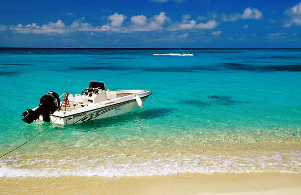 Montego Bay Photograph - Speedboat Moored At Conroy Beach by Richard Cummins