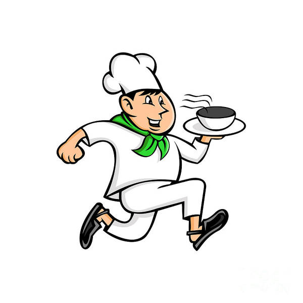 Wall Art - Digital Art - Speedy Chef Running Serving Pot Of Food Mascot by Aloysius Patrimonio