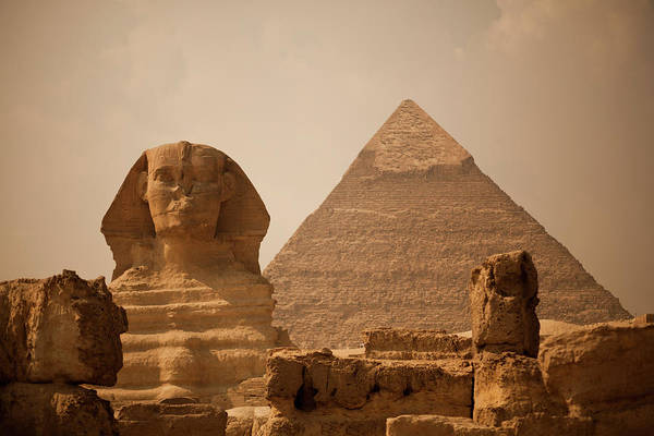 Giza Photograph - Sphinx And Great Pyramid by Pirateprincess