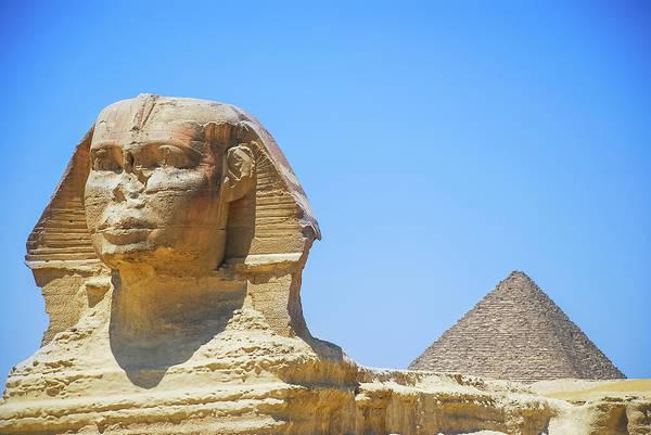 Ancient Photograph - Sphinx And Pyramid by © Razvan Ciuca