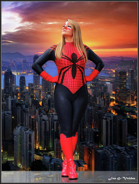 Photograph - Spider Over Sunset City by Jon Volden