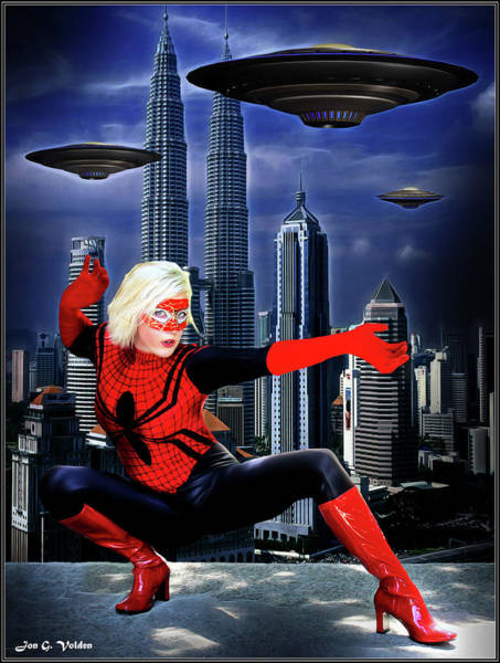 Photograph - Spider Woman Vs Alien Invasion by Jon Volden