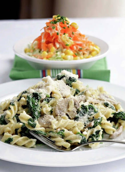 Wall Art - Photograph - Spinach And Mushroom Fusilli In A by Michael Powell