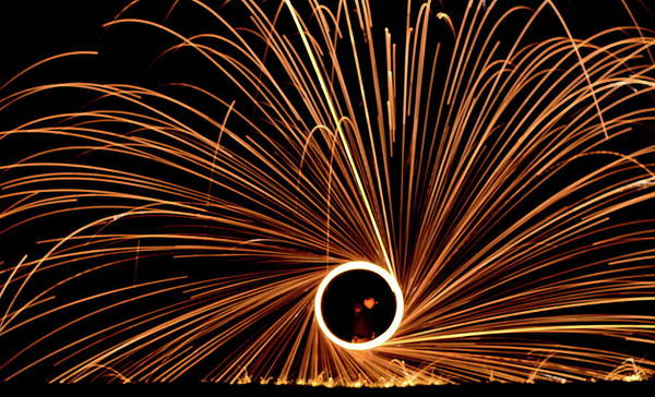 Light Photograph - Spinning Fire by Rich Byham Images
