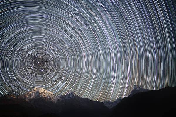 Nepal Wall Art - Photograph - Spinning Stars Above Himalayas by Anton Jankovoy