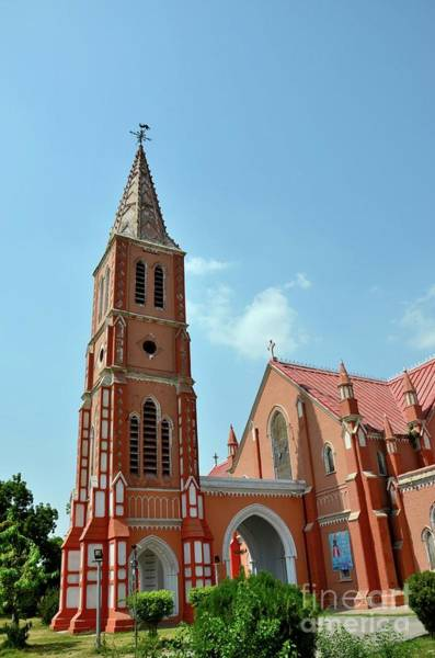 Photograph - Spire And Entrance Of Renovated St Mary The Virgin Church Cathedral Multan Pakistan by Imran Ahmed