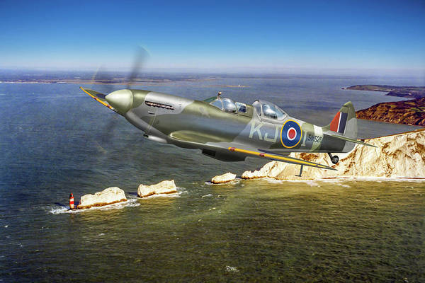 Photograph - Spitfire Tr 9 Over The Needles by Gary Eason