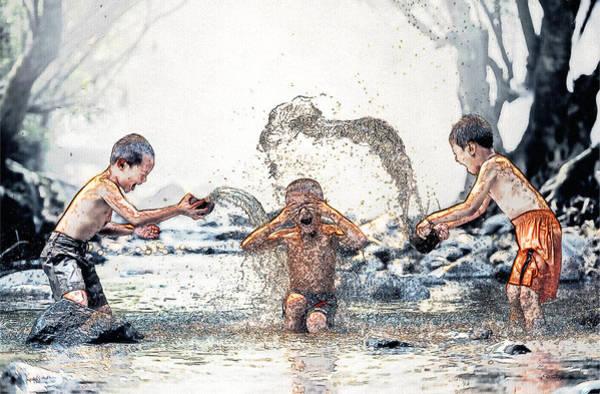 Drawing - Splash - Children At Play - Sketch by Ericamaxine Price