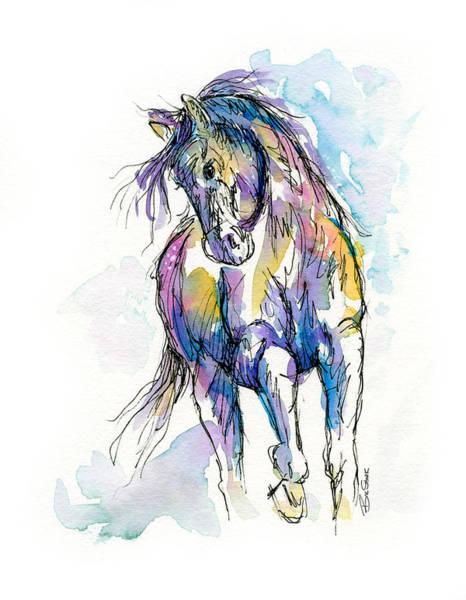 Wall Art - Painting - Splashy Horse by Bill Stork
