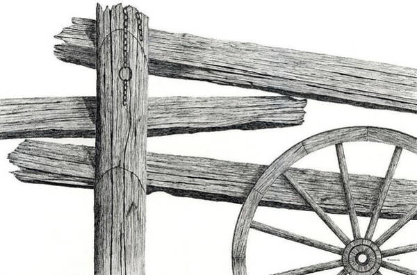 Rust Drawing - Split Rail Fence by Ed Einboden