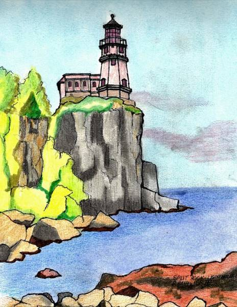 Wall Art - Drawing - Split Rock Lighthouse by Paul Meinerth