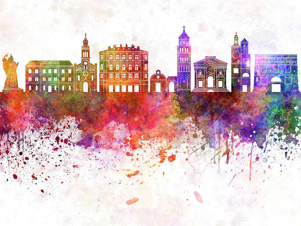 Wall Art - Painting - Split Skyline In Watercolor Background by Pablo Romero