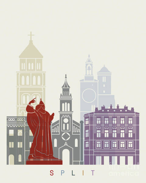 Wall Art - Painting - Split Skyline Poster  In Editable Vector by Pablo Romero