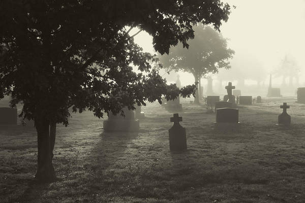 Photograph - Spooky Foggy Cemetery - Black And White by Peggy Collins