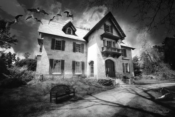 Photograph - Spooky Mansion In Black And White by Trina Ansel