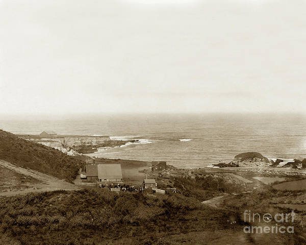 Photograph - Spooner's Cove With Chute  Landing, Morro Bay, San Luis Obispo Cal 1900 by California Views Archives Mr Pat Hathaway Archives