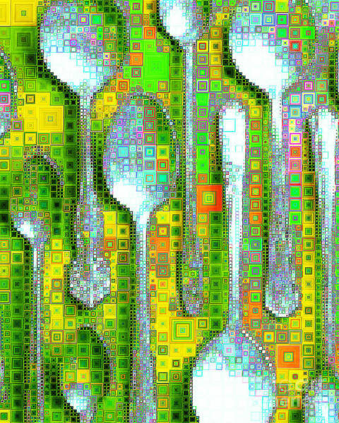 Photograph - Spoons In Abstract Squares 20190131 by Wingsdomain Art and Photography