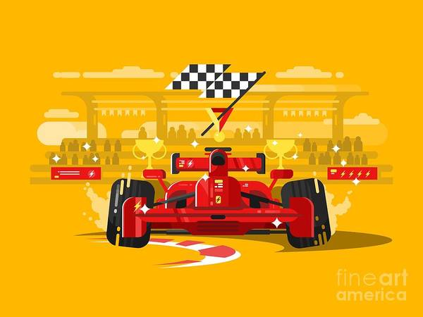 Success Wall Art - Digital Art - Sport Car In Race by Kit8.net