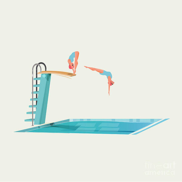 Wall Art - Digital Art - Sport Women Standing On Diving Board by Angkrit