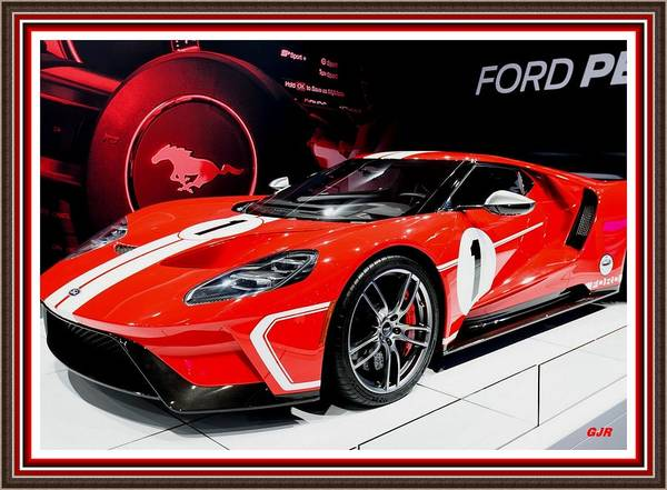Awesome Show Digital Art - Sports Car Dreams 1 - Ford G T - H Q Photography L A S With Printed Frame.  by Gert J Rheeders