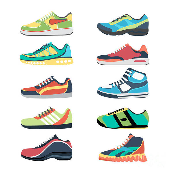 Wall Art - Digital Art - Sports Shoes Vector Set. Fashion by Mssa
