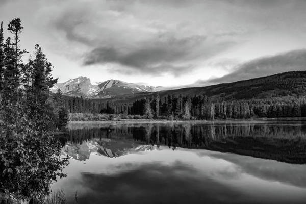 Photograph - Sprague Lake Mountain Landscape Morning Reflections - Rocky Mountain National Park Monochrome by Gregory Ballos