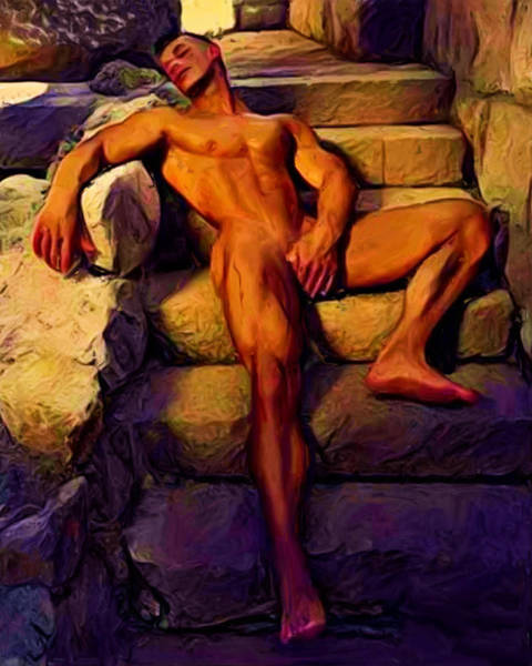 Painting - Sprawled On Steps by Troy Caperton