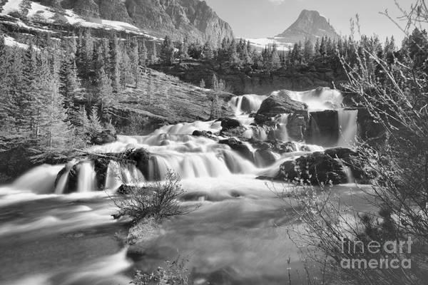 Photograph - Spring 2019 At Red Rock Falls Black And White by Adam Jewell