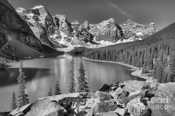 Photograph - Spring Afternoon At Moraine Lake Black And White by Adam Jewell