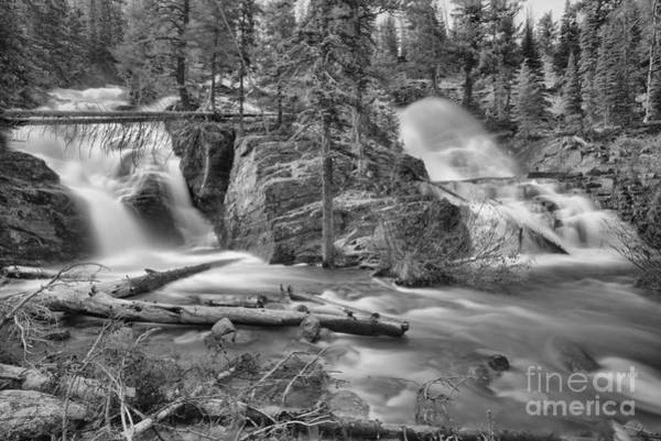 Photograph - Spring At Glacier Twin Falls Black And White by Adam Jewell