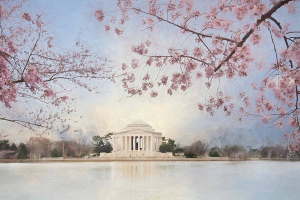 Blooming Tree Mixed Media - Spring At The Jefferson Memorial by Lori Deiter
