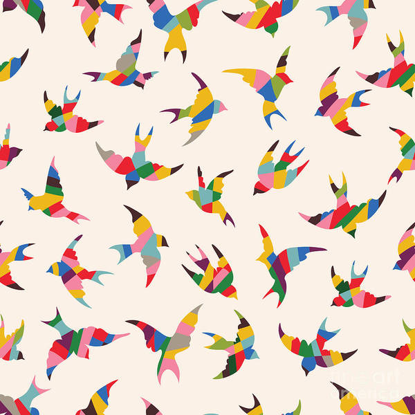Stylized Wall Art - Digital Art - Spring Birds Seamless Pattern. Colorful by Tets