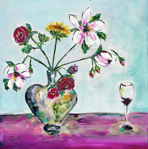 Wine Painting - Spring Blossoms by Roxy Rich