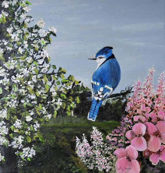 Wall Art - Painting - Spring Blue Jay by Betty-Anne McDonald